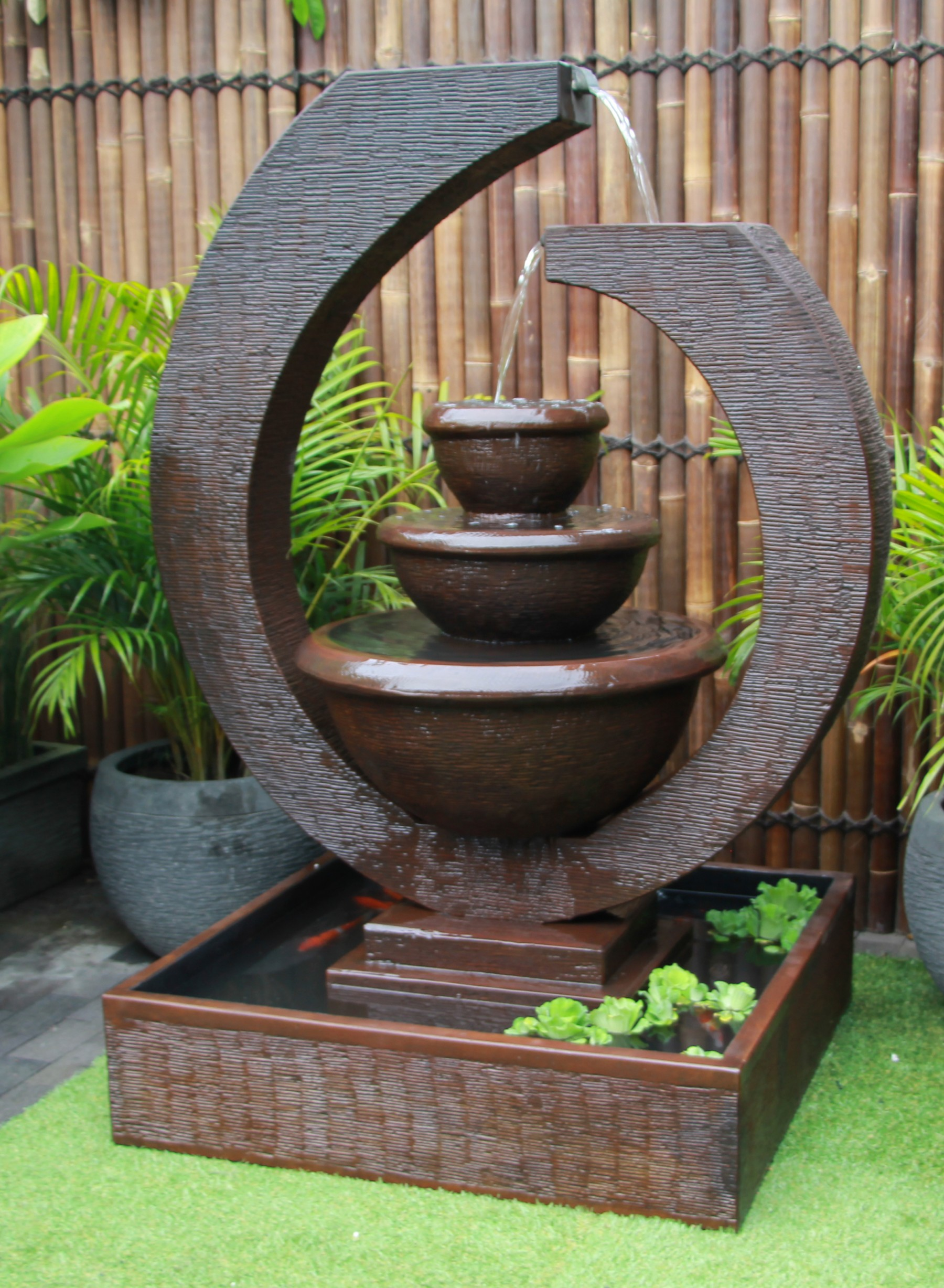 Fountain 2 original large eclipse water feature outdoor for Garden fountains and water features